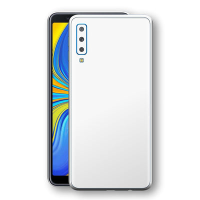 Samsung Galaxy A7 (2018) White Glossy Gloss Finish Skin, Decal, Wrap, Protector, Cover by EasySkinz | EasySkinz.com