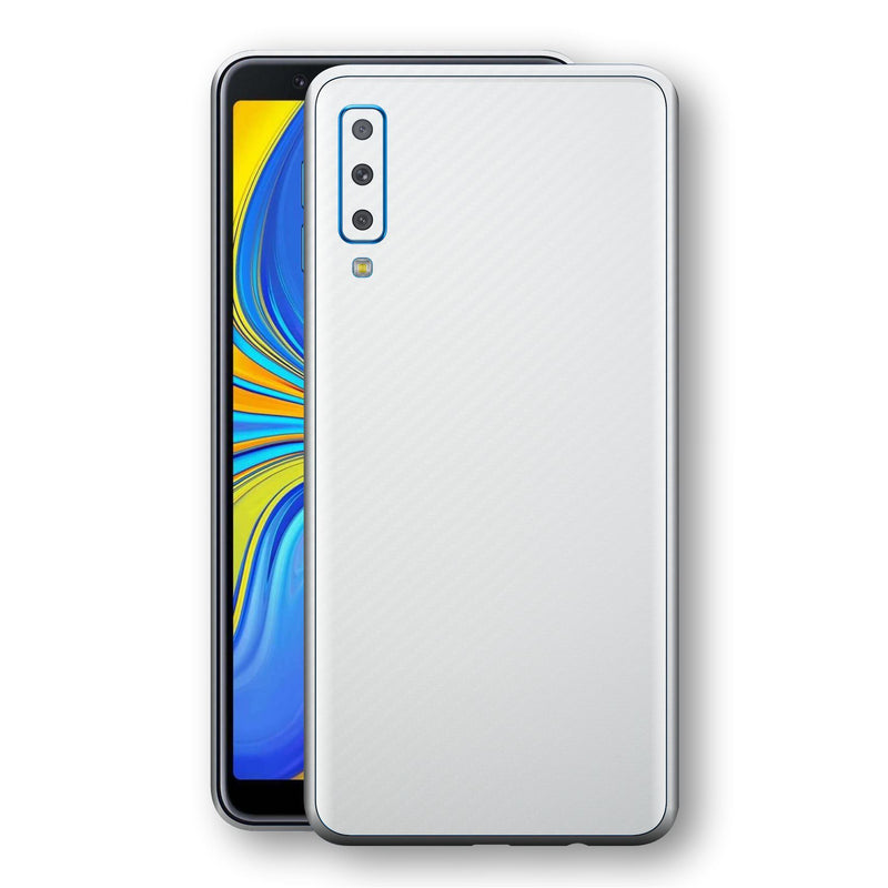Samsung Galaxy A7 (2018) 3D Textured White Carbon Fibre Fiber Skin, Decal, Wrap, Protector, Cover by EasySkinz | EasySkinz.com