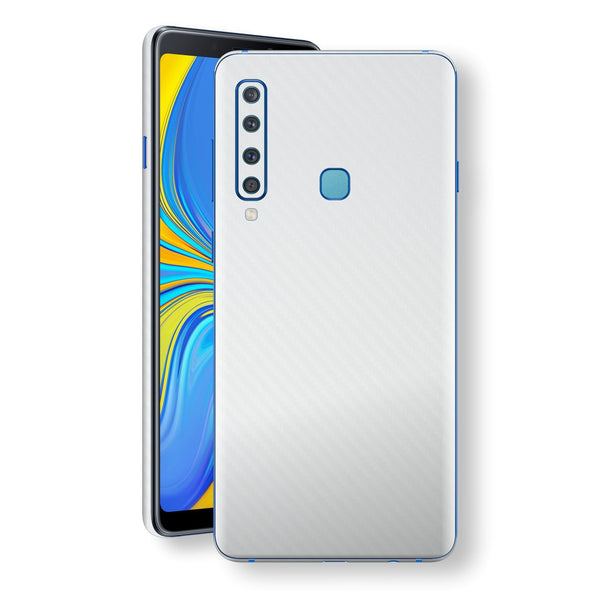 Samsung Galaxy A9 (2018) 3D Textured White Carbon Fibre Fiber Skin, Decal, Wrap, Protector, Cover by EasySkinz | EasySkinz.com