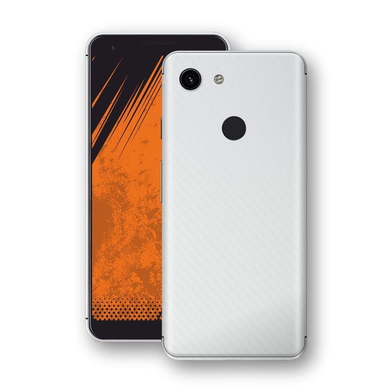 Google Pixel 3a XL 3D Textured White Carbon Fibre Fiber Skin, Decal, Wrap, Protector, Cover by EasySkinz | EasySkinz.com