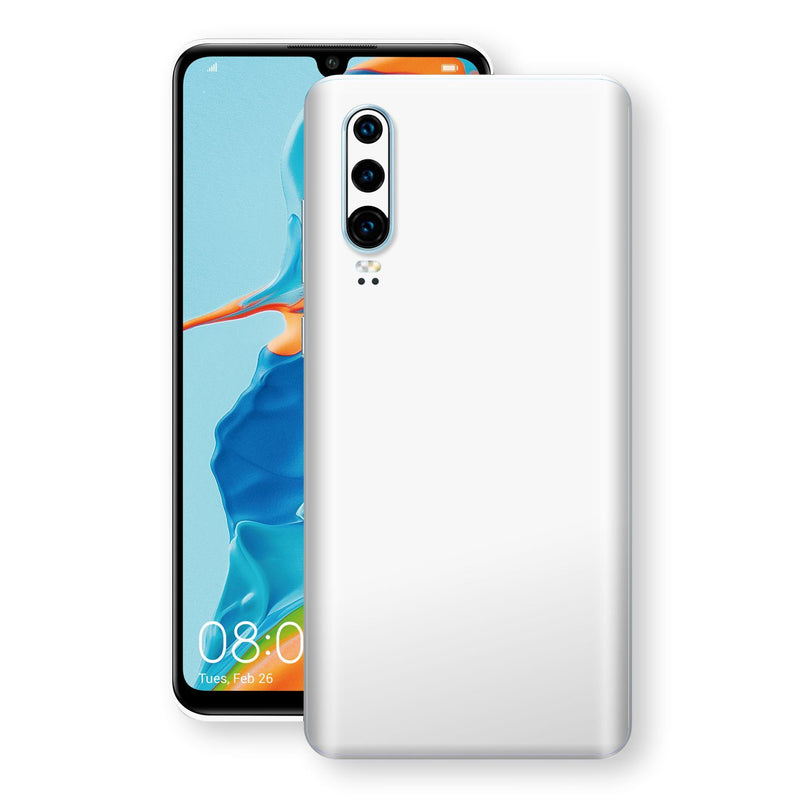 Huawei P30 White Glossy Gloss Finish Skin, Decal, Wrap, Protector, Cover by EasySkinz | EasySkinz.com