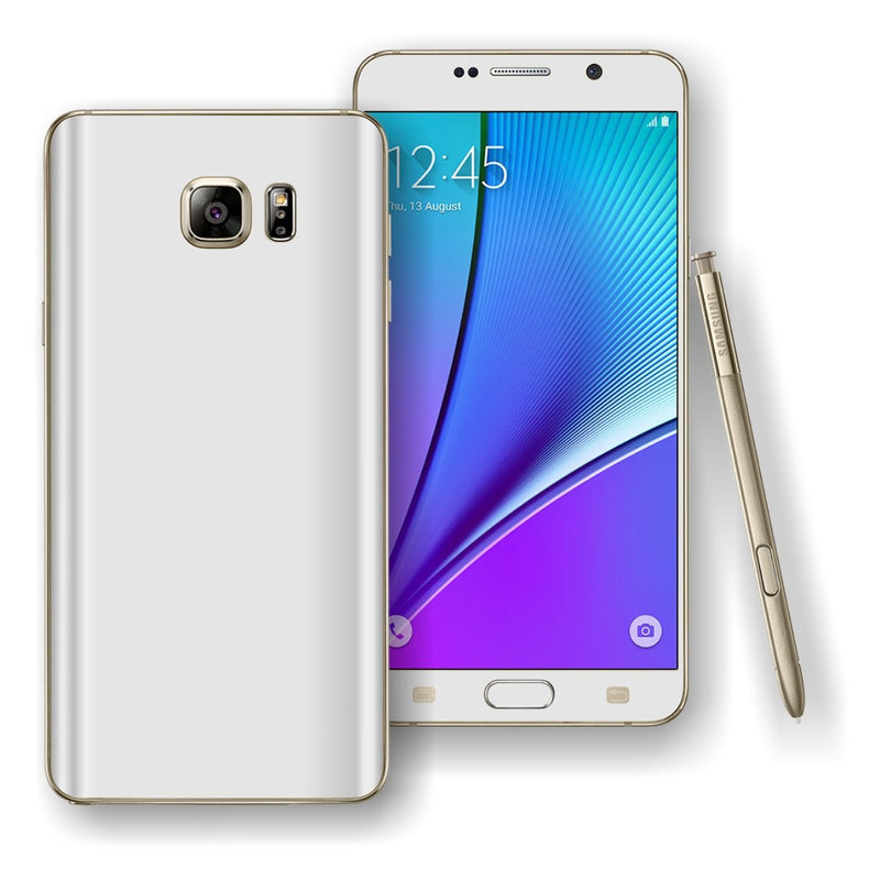 Samsung Galaxy NOTE 5 White Glossy Skin Wrap Decal Cover Protector by EasySkinz