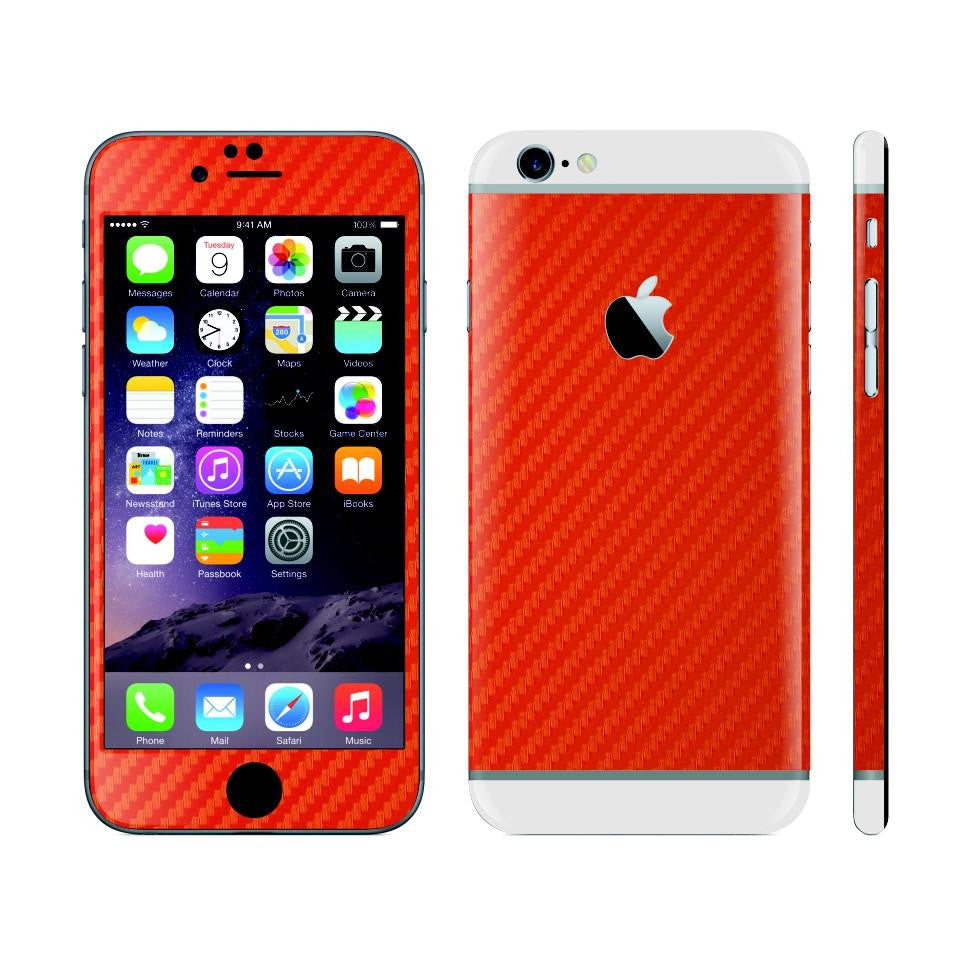iPhone 6S PLUS RED Carbon Fibre Fiber Skin with White Matt Highlights Cover Decal Wrap Protector Sticker by EasySkinz