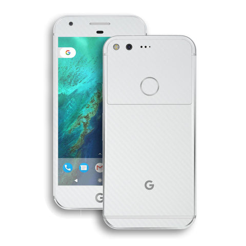 Google Pixel White Carbon Fibre Fiber Skin Wrap Decal by EasySkinz