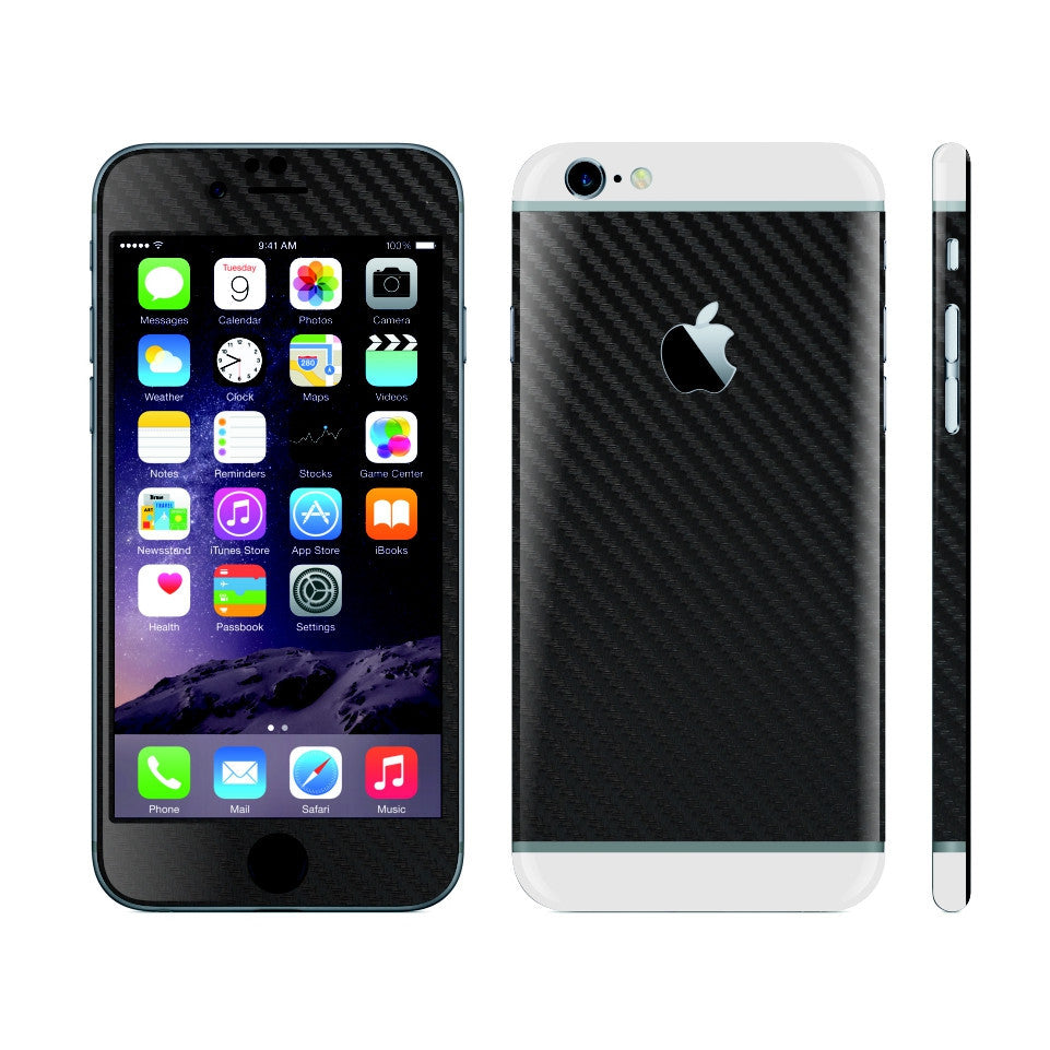 iPhone 6 Black Carbon Fibre Skin with White Matt Highlights Cover Decal Wrap Protector Sticker by EasySkinz