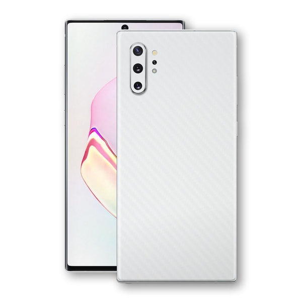Samsung Galaxy NOTE 10+ PLUS 3D Textured White Carbon Fibre Fiber Skin, Decal, Wrap, Protector, Cover by EasySkinz | EasySkinz.com