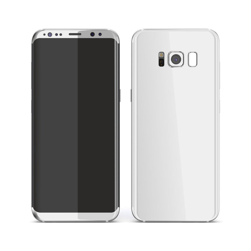 Samsung Galaxy S8+ White Glossy Gloss Finish Skin, Decal, Wrap, Protector, Cover by EasySkinz | EasySkinz.com