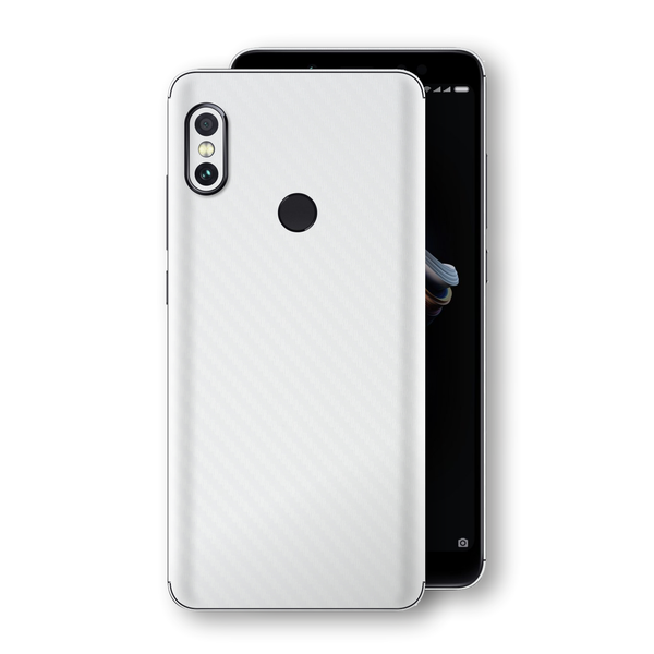 XIAOMI Redmi NOTE 5 3D Textured White Carbon Fibre Fiber Skin, Decal, Wrap, Protector, Cover by EasySkinz | EasySkinz.com
