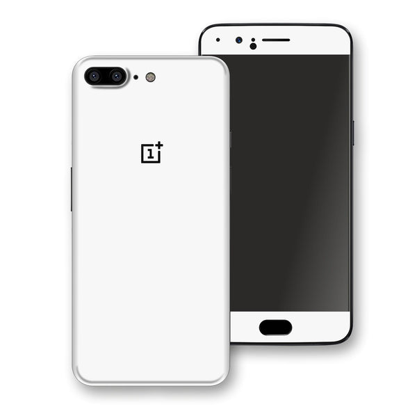 OnePlus 5 White Glossy Gloss Finish Skin, Decal, Wrap, Protector, Cover by EasySkinz | EasySkinz.com