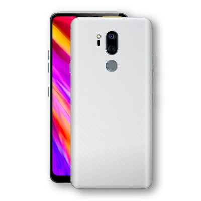 LG G7 ThinQ 3D Textured White Carbon Fibre Fiber Skin, Decal, Wrap, Protector, Cover by EasySkinz | EasySkinz.com