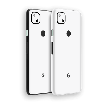 Google Pixel 4a White Glossy Gloss Finish Skin Wrap Sticker Decal Cover Protector by EasySkinz