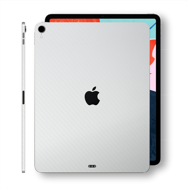 "iPad PRO 11"" 2018 White 3D Textured CARBON Fibre Fiber Skin Wrap Sticker Decal Cover Protector by EasySkinz"