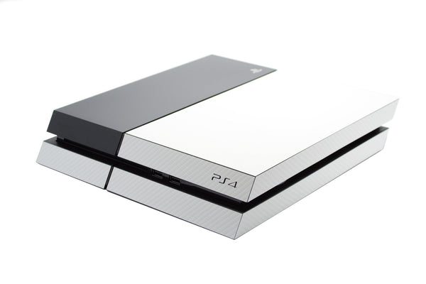 ps4 white carbon part body skin