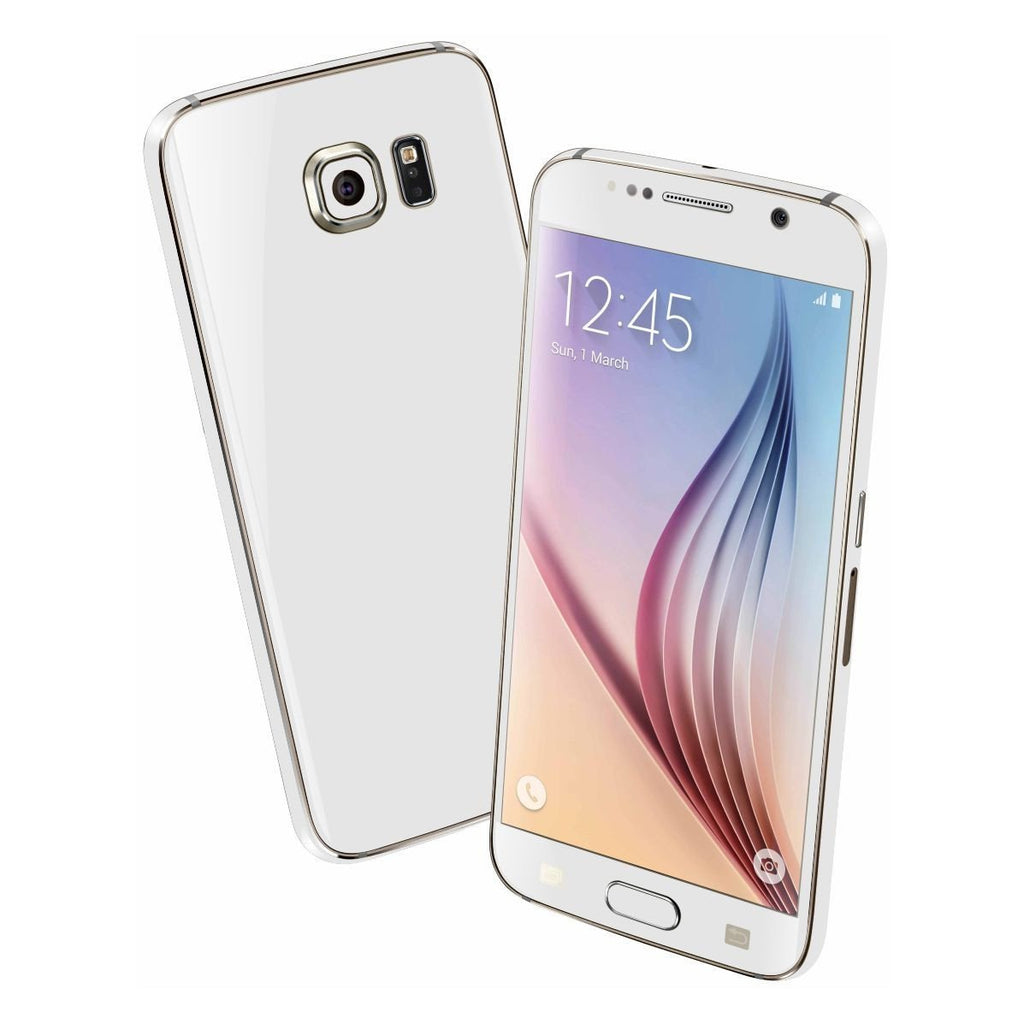 Samsung Galaxy S6 Colorful GLOSS GLOSSY WHITE Skin Wrap Sticker Cover Protector Decal by EasySkinz
