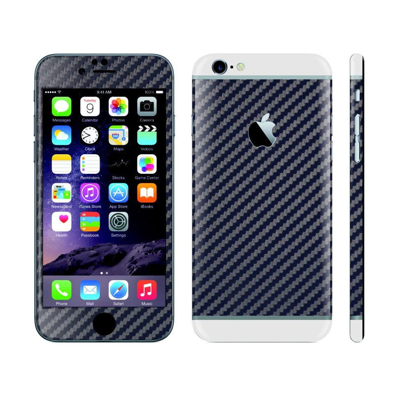 iPhone 6S PLUS NAVY BLUE Carbon Fibre Fiber Skin with White Matt Highlights Cover Decal Wrap Protector Sticker by EasySkinz