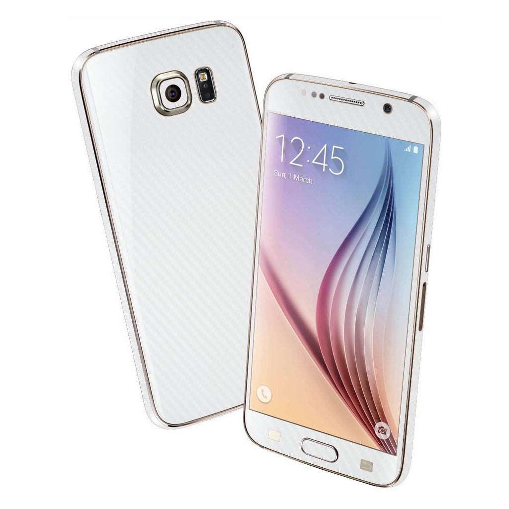 Samsung Galaxy S6 White 3D CARBON Fibre Fiber Skin Wrap Sticker Cover Decal Protector by EasySkinz