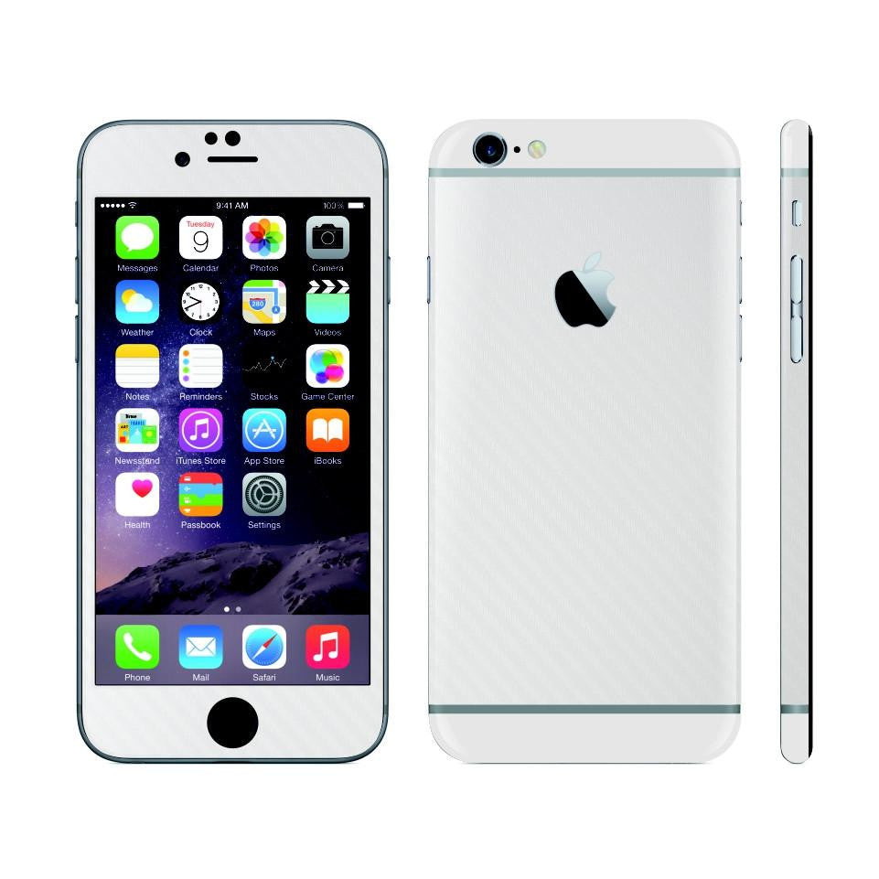iPhone 6 Plus White Carbon Fibre Skin with White Matt Highlights Cover Decal Wrap Protector Sticker by EasySkinz