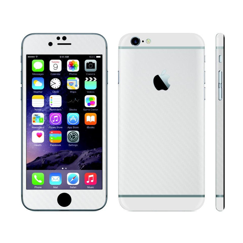 iPhone 6 White Carbon Fibre Skin with White Matt Highlights Cover Decal Wrap Protector Sticker by EasySkinz