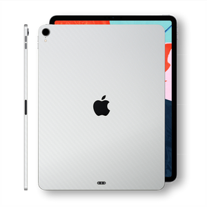 "iPad PRO 12.9"" 3rd Generation 2018 White 3D Textured CARBON Fibre Fiber Skin Wrap Sticker Decal Cover Protector by EasySkinz"