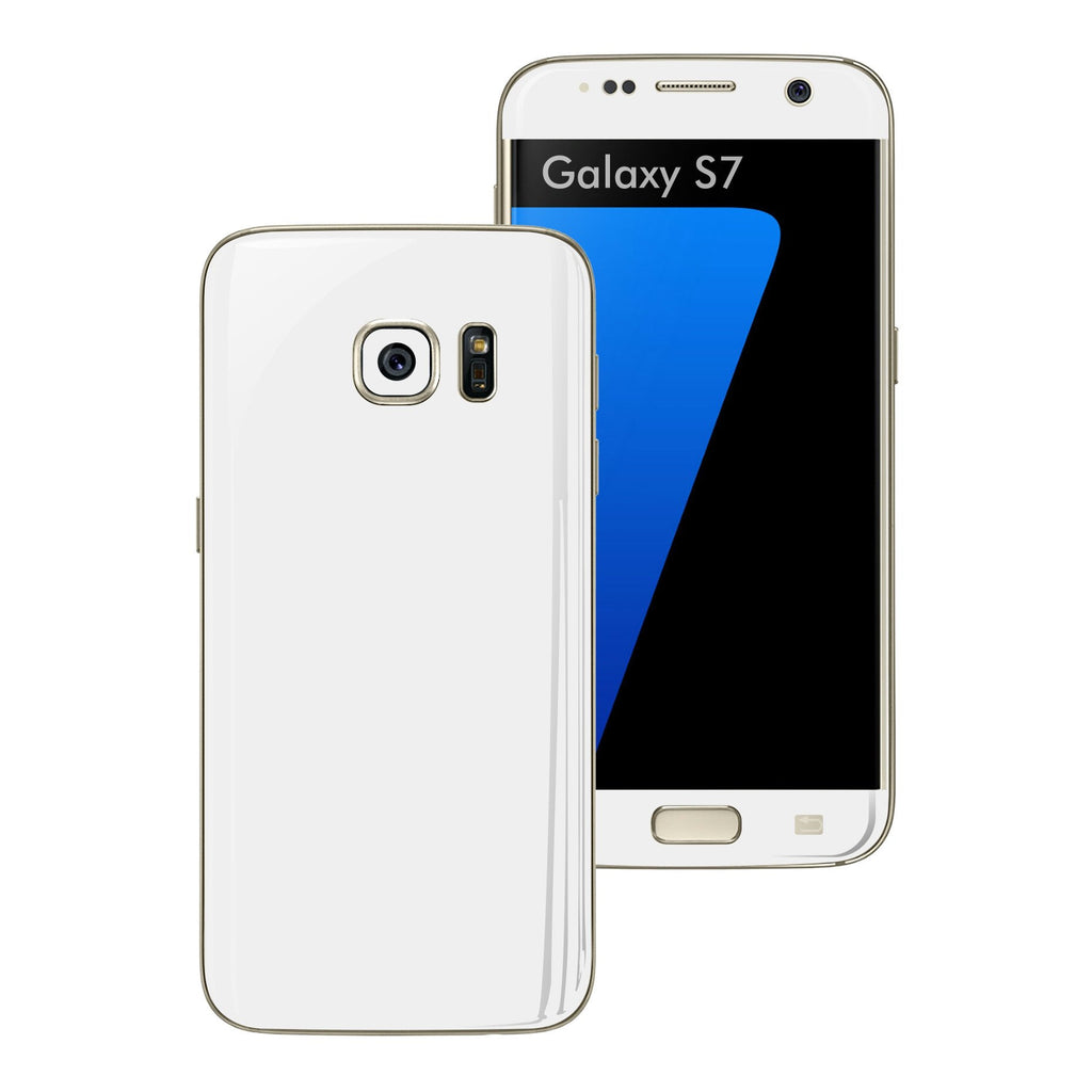 Samsung Galaxy S7 Glossy WHITE Skin Wrap Decal Sticker Cover Protector by EasySkinz