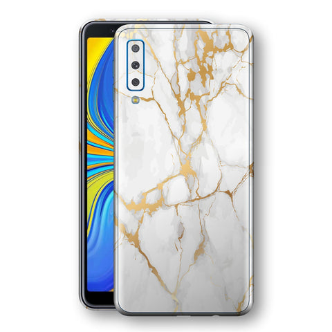 Samsung Galaxy A7 (2018) Print Custom Signature Marble White Gold Skin Wrap Decal by EasySkinz - Design 2