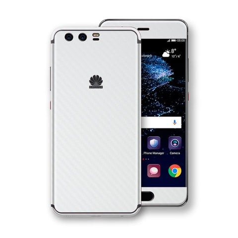Huawei P10+ PLUS 3D Textured White Carbon Fibre Fiber Skin, Decal, Wrap, Protector, Cover by EasySkinz | EasySkinz.com