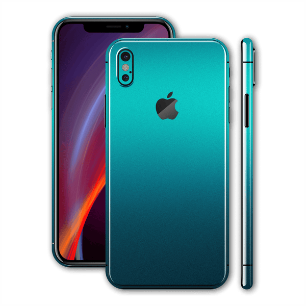 iPhone XS MAX Atomic Teal Metallic Gloss Finish Skin Wrap Sticker Decal Cover Protector by EasySkinz
