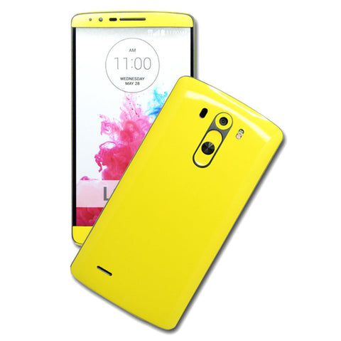 LG G3 Glossy Lemon Yellow Skin Sticker Wrap Cover Decal Protector