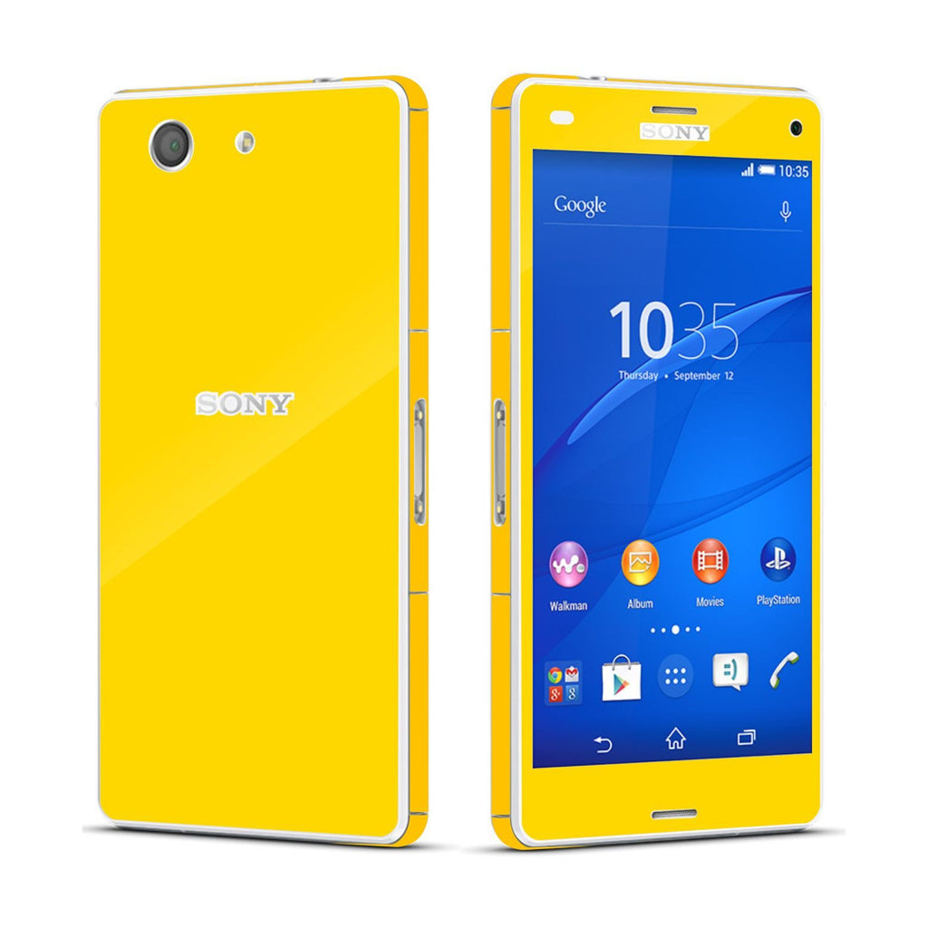 Sony Xperia Z3 COMPACT Golden Yellow Glossy Skin Wrap Sticker Cover Decal Protector By EasySkinz