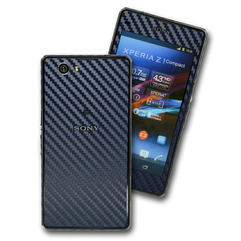 Sony Xperia Z1 Compact CARBON Fibre Navy Blue Skin Wrap Cover