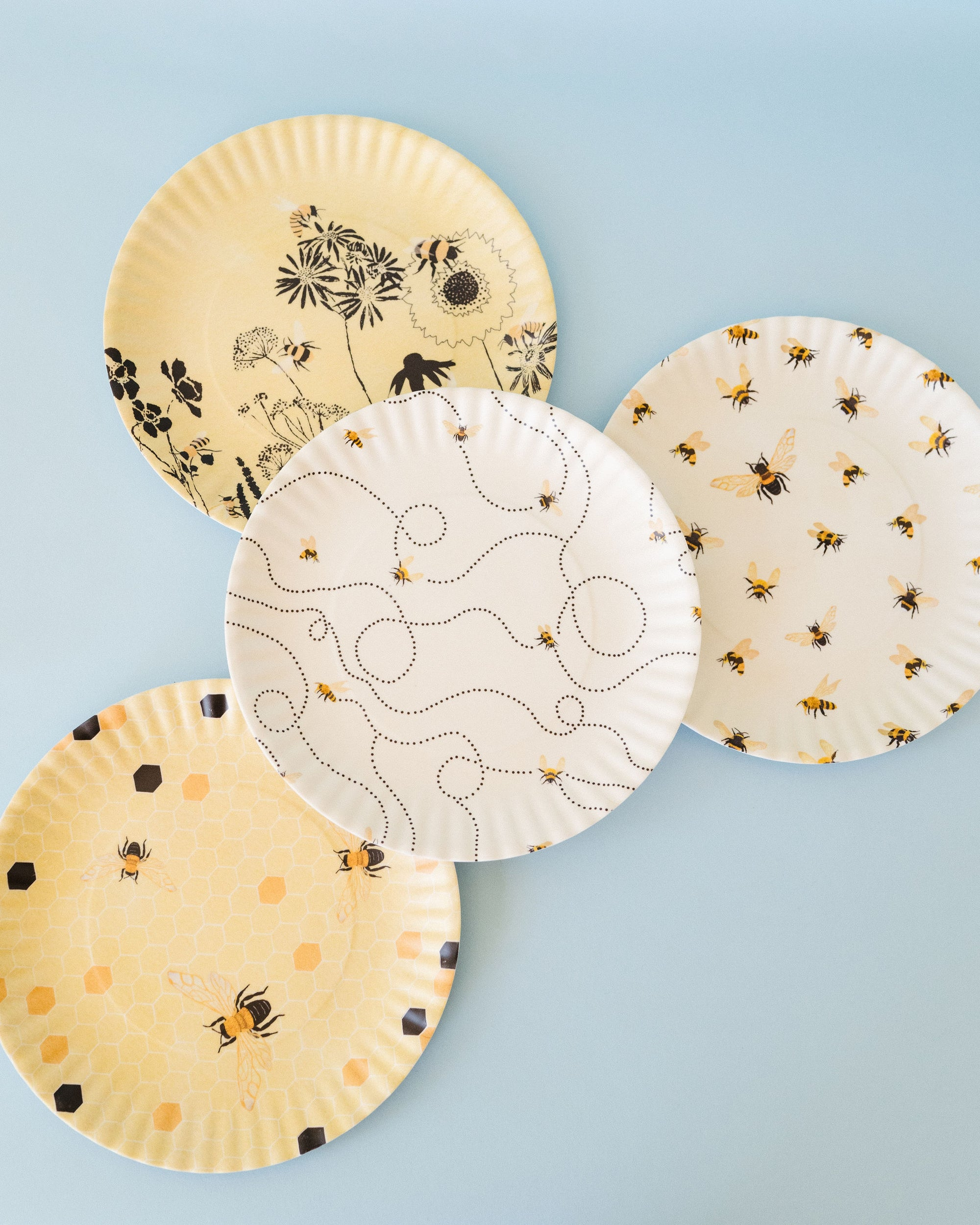 Busy Bee Melamine Plates - Set of 4