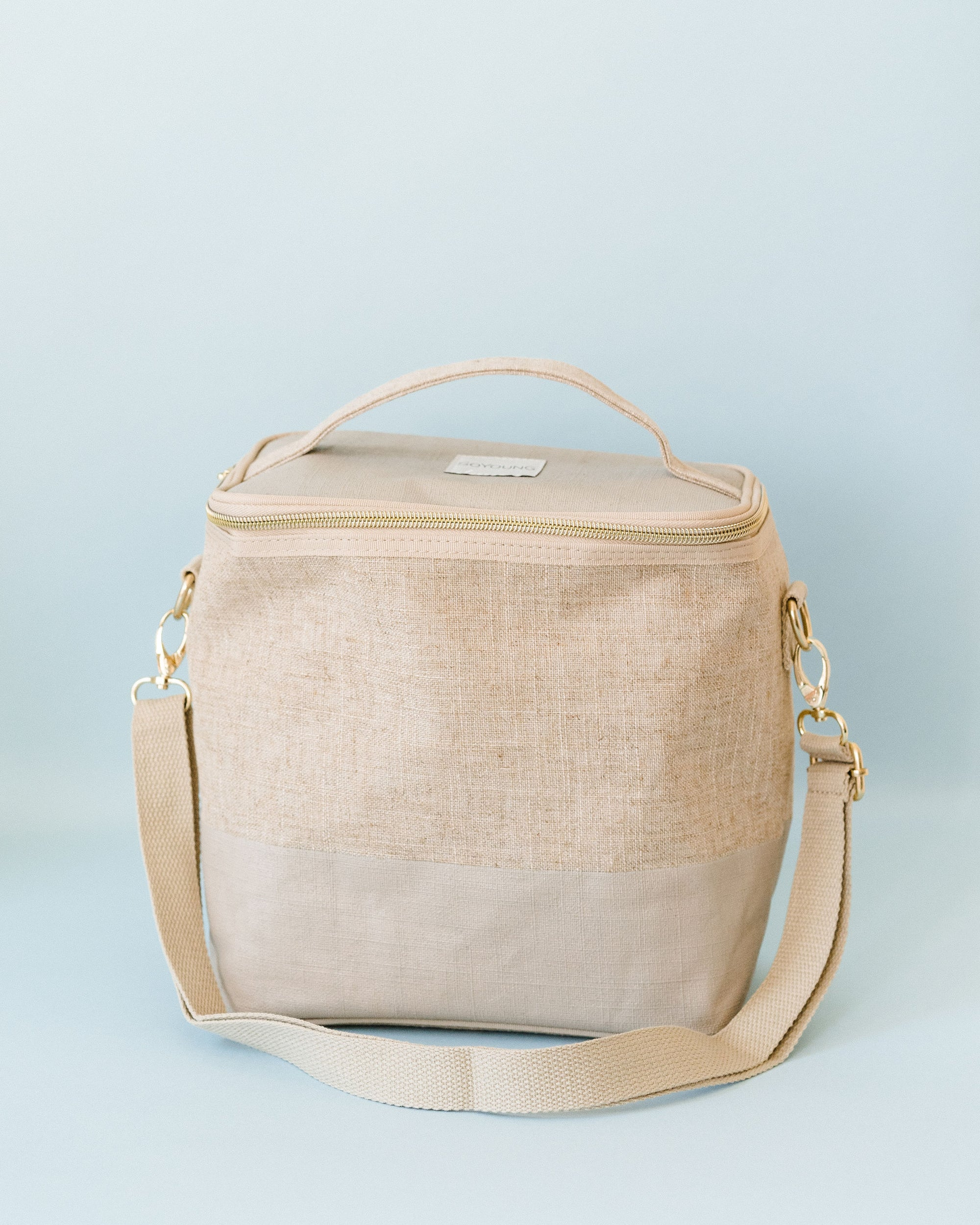 Cream + Green Stripe Adult Linen Lunch Poche
