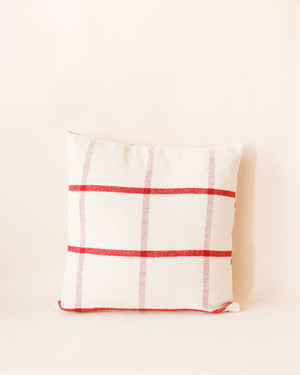 Square Red and Cream Brushed Pillow