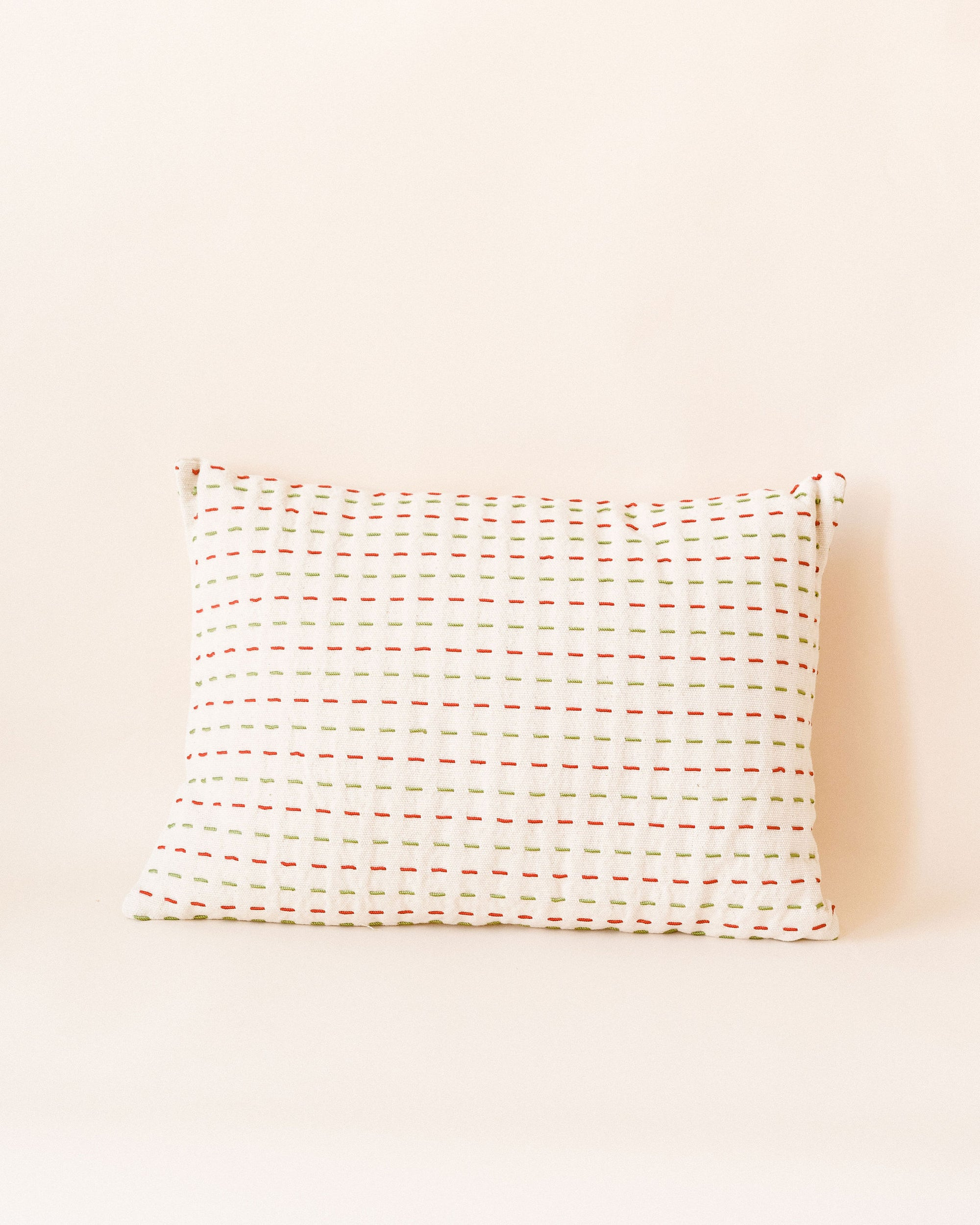 Green and Red Stitched Cotton Pillow