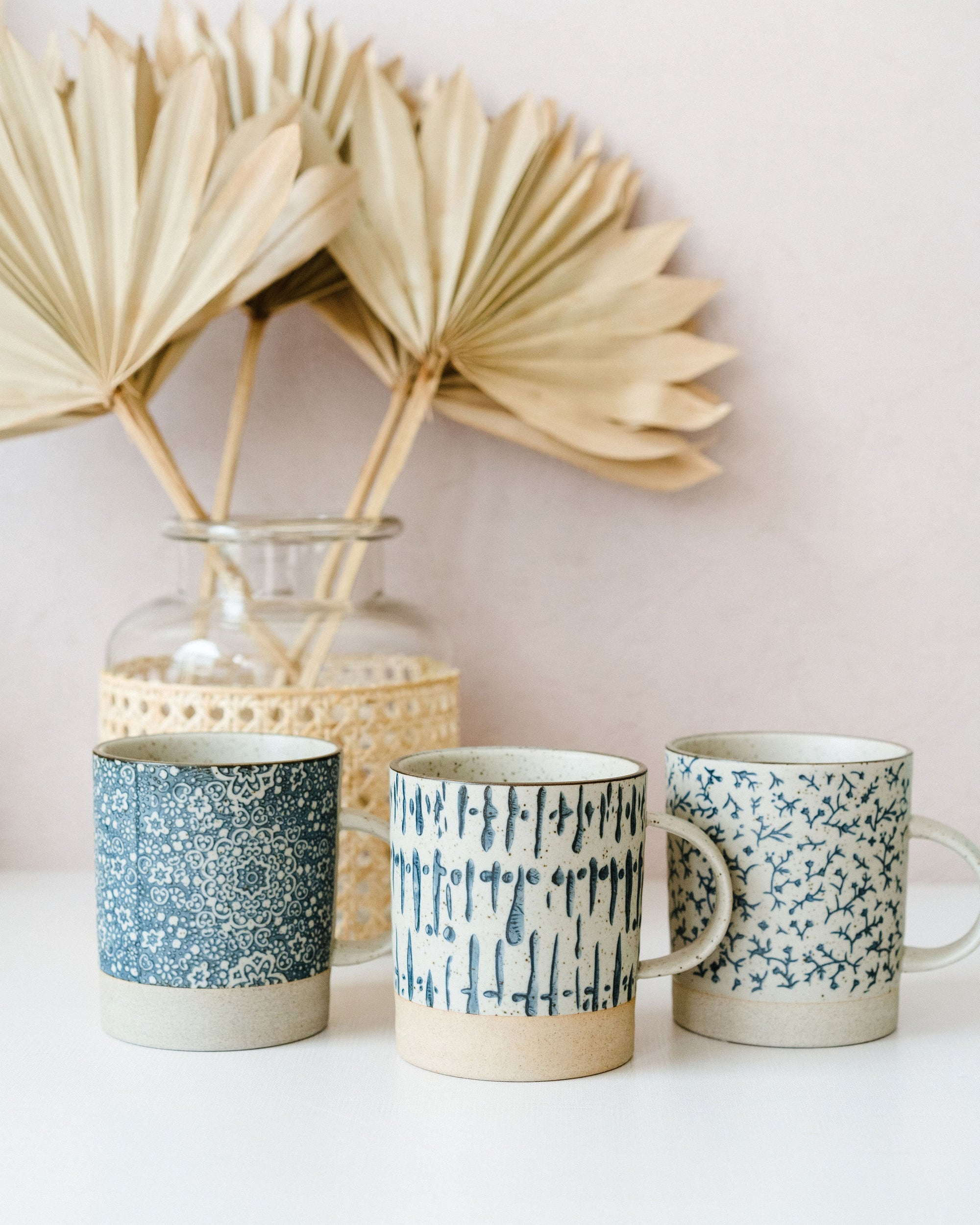 Blue and Cream Stamped Mug