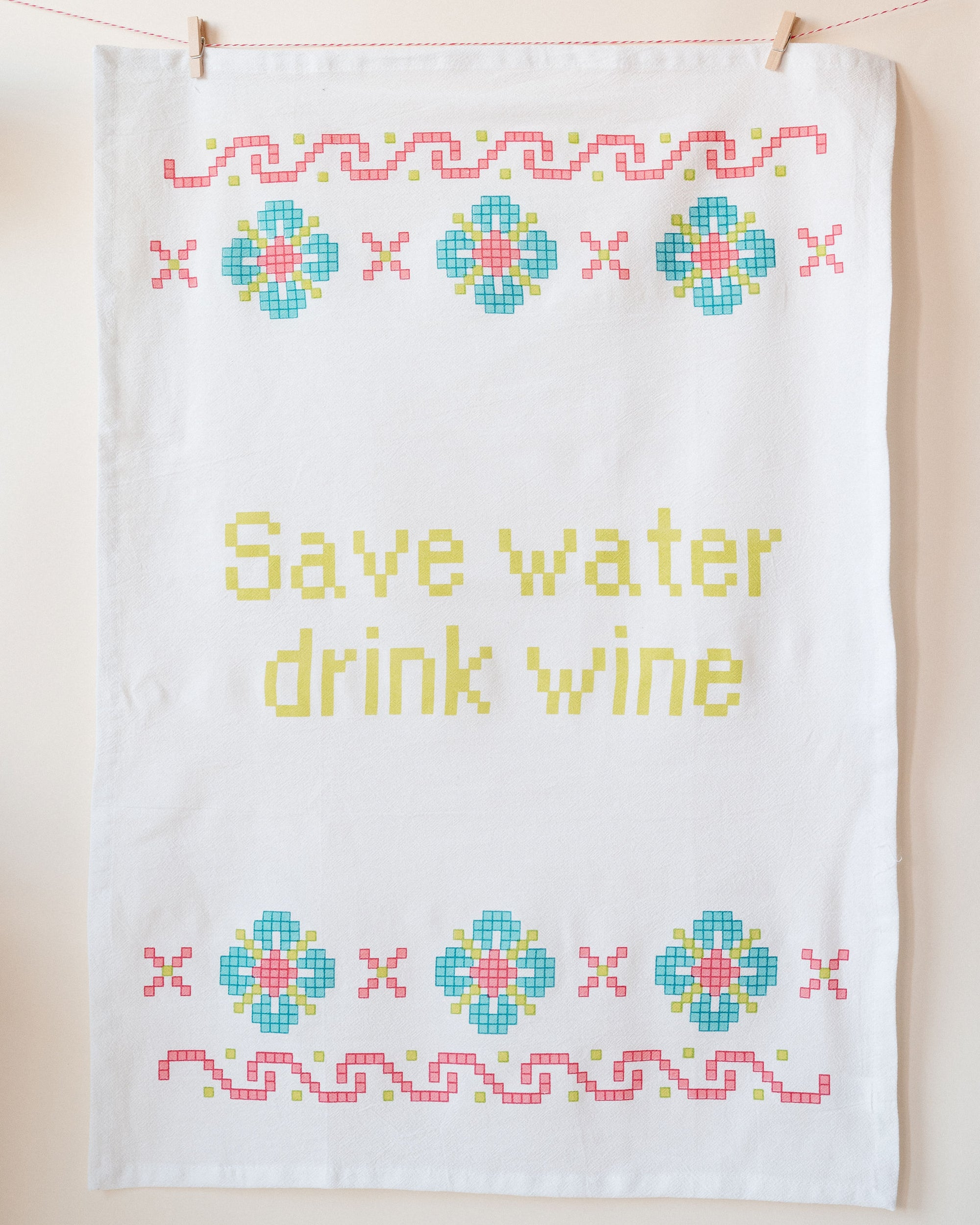 Save The Water Drink Wine Towel