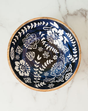Indigo Carved Serving Bowl