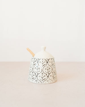 Cream and Black Patterned Sugar Jar