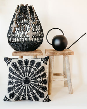 Natural and Black Embroidered Pillow