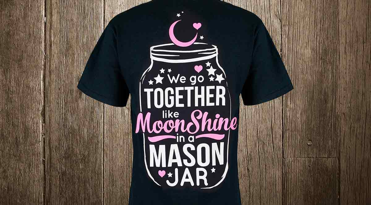 moonshine in a mason jar t-shirt