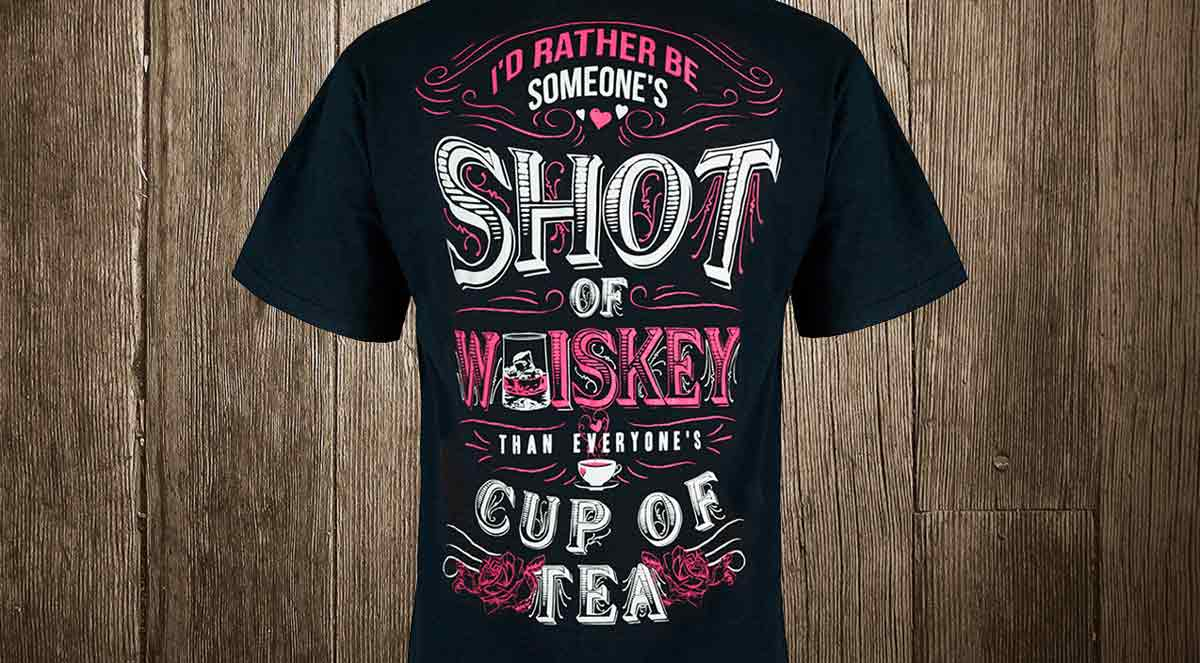 shot of whiskey cup of tea t-shirt