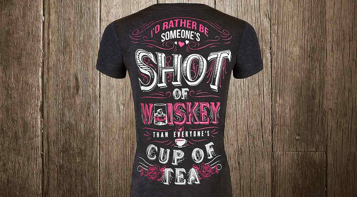 shot of whiskey cup of tea v-neck