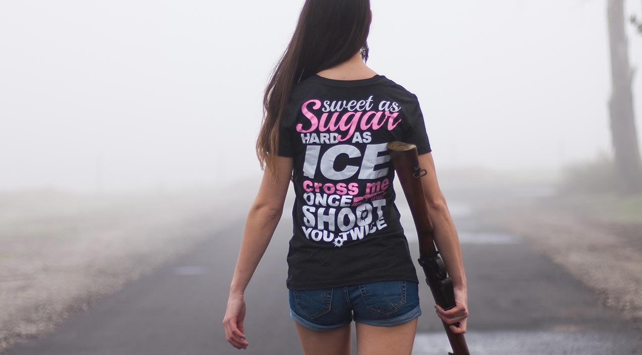 sweet as sugar hard as ice cross me once shoot you twice t-shirt
