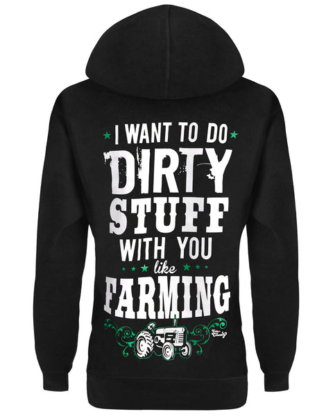 Hoodie: I Want To Do Dirty Stuff With You Like Farming Small / Black, Hoodies - Cute n' Country, Cute n' Country  - 1