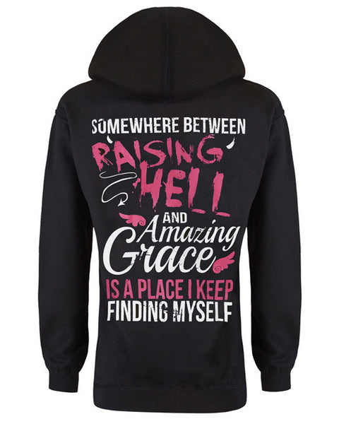 Hoodie: In Between Raising Hell and Amazing Grace Small / Black, Hoodies - Cute n' Country, Cute n' Country  - 1