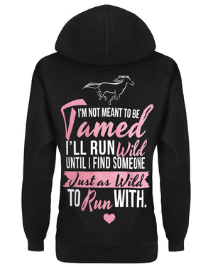 Hoodie: I'm Not Meant to Be Tamed Small / Black, Hoodies - Cute n' Country, Cute n' Country  - 1