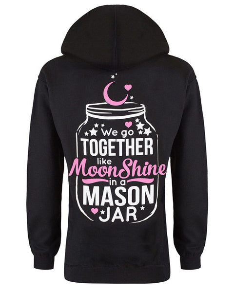 Hoodie: We Go Together Like Moonshine in a Mason Jar Small / Black, Hoodies - Cute n' Country, Cute n' Country  - 1