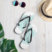 Load image into Gallery viewer, Teal Mandala Flip-Flops