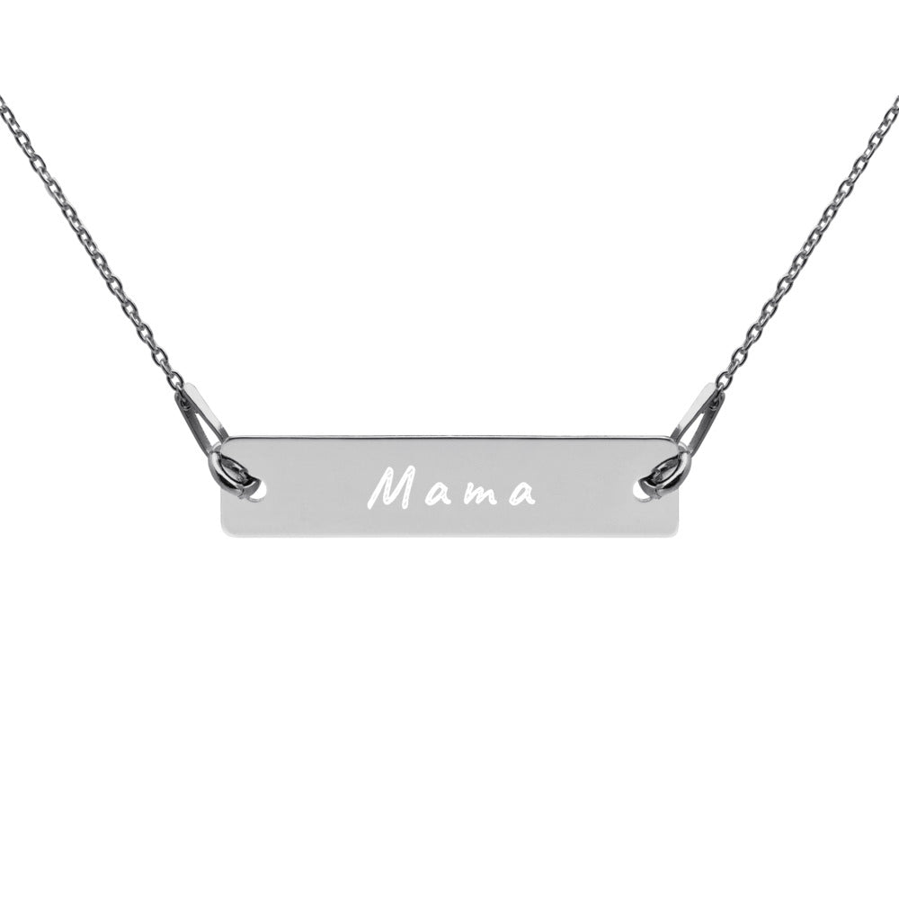 Mama Engraved Silver Bar Chain Necklace