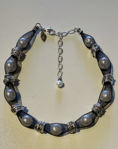 Yolanta Pearls in Mesh with Silver Accents Choker